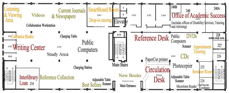 Briggs Library Floor 2 Map
