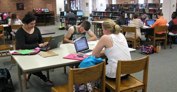 Students studying on main floor of Briggs Library