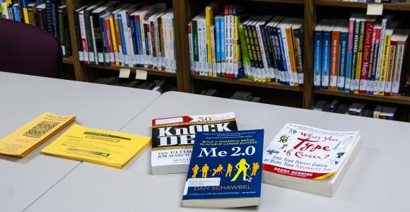 Selection of books available in Career Services Library