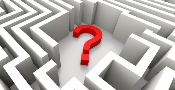Question mark in the middle of a maze illustrating confusion.