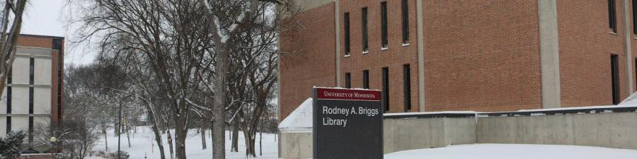Briggs Library in the winter, lots of snow!