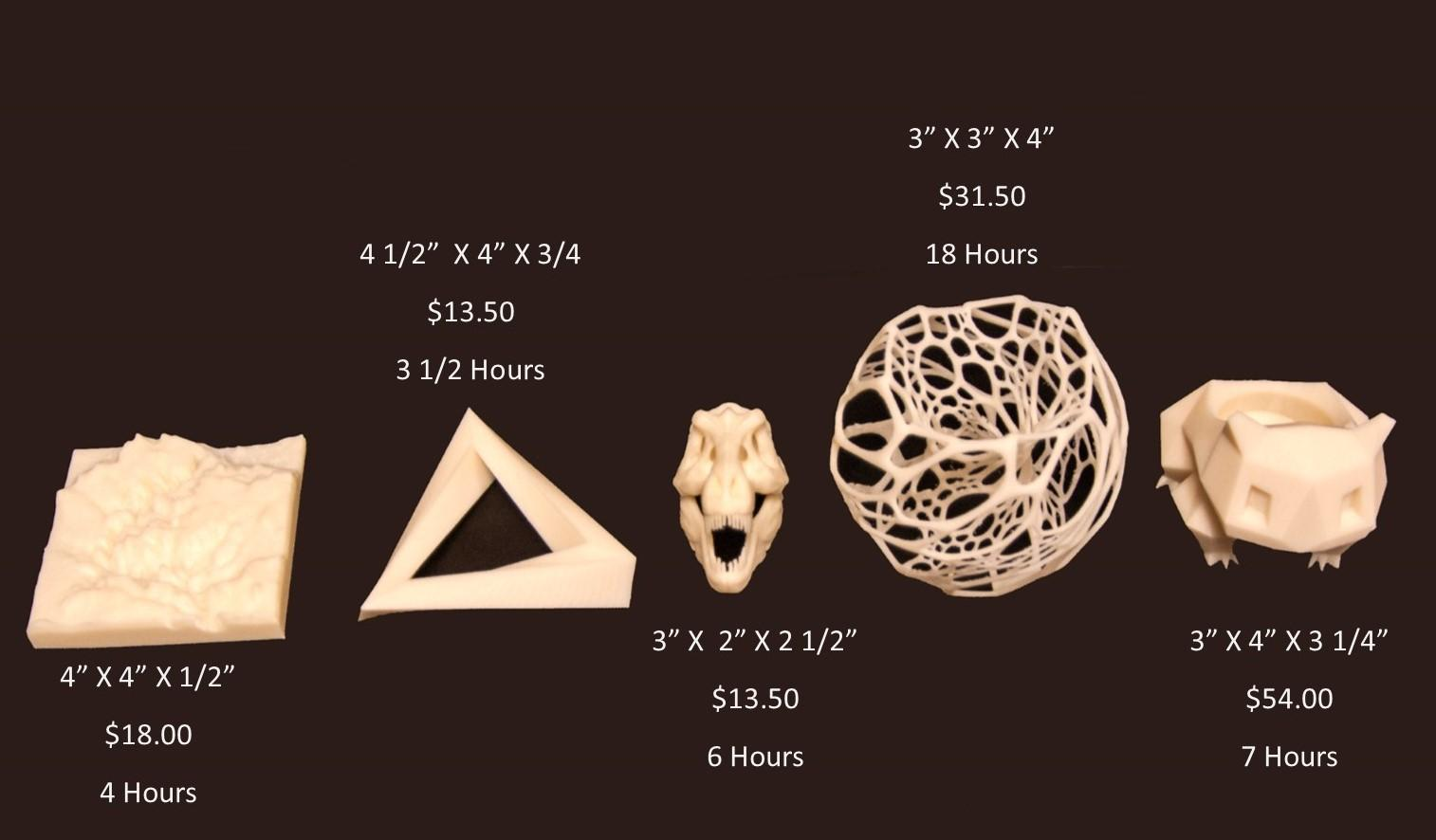 Example of 3D print jobs and their costs.