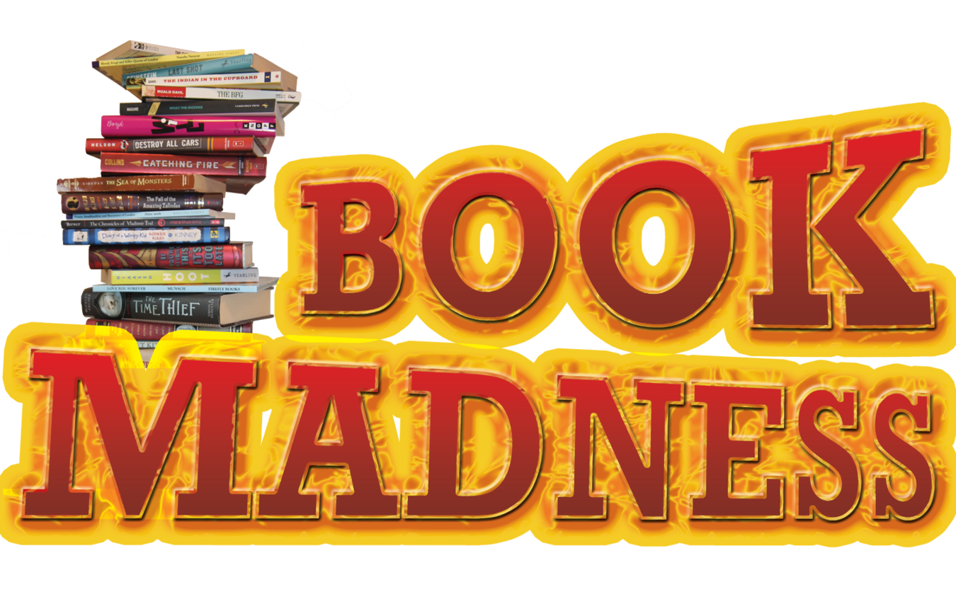 """Words """"Book Madness"""" and stack of books."""