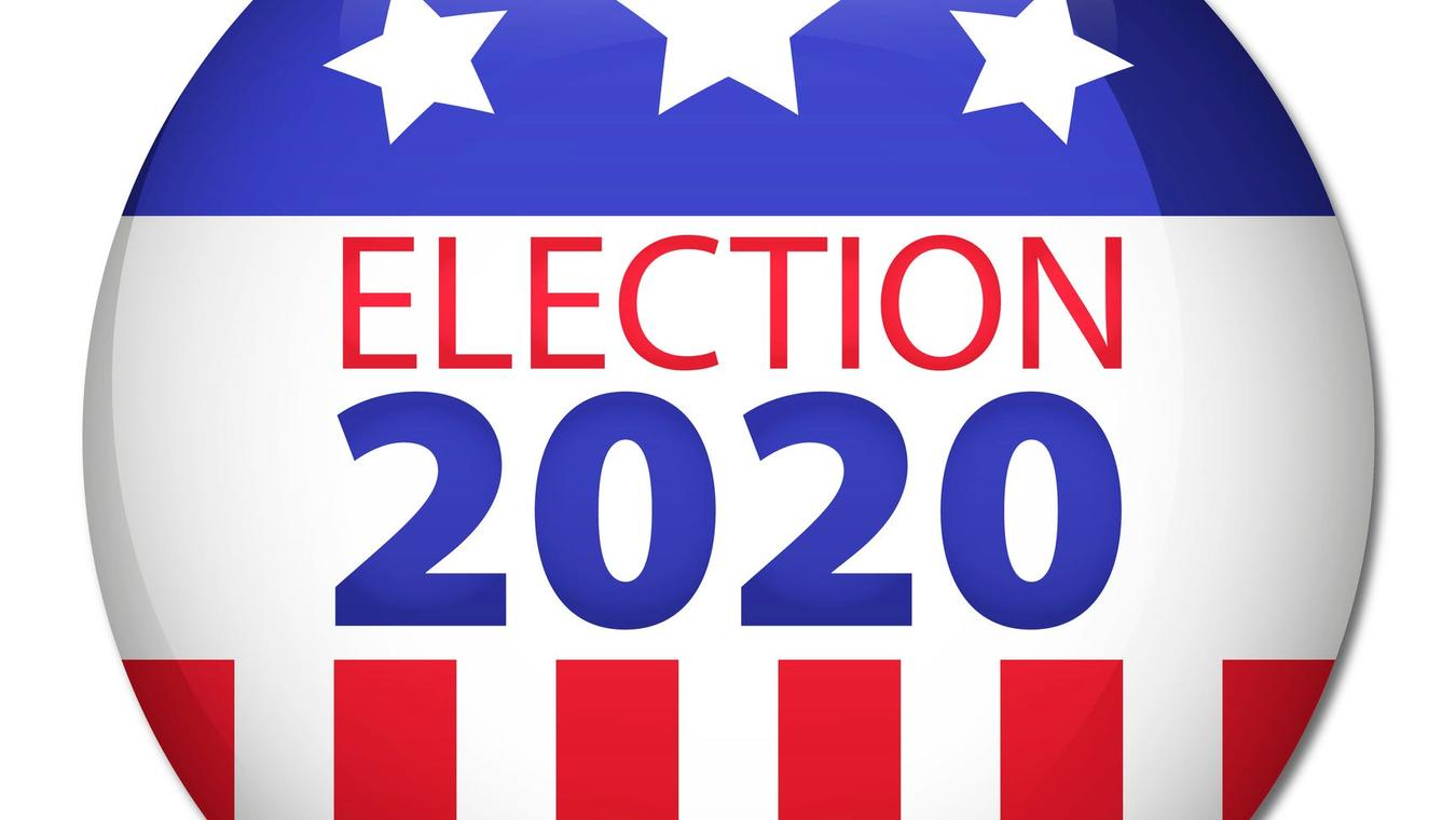 Election 2020 button, red, white and blue.