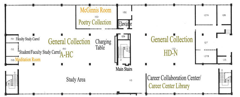 Floor 1 map of Briggs Library