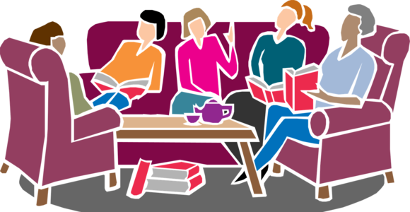 People sitting and discussing a book