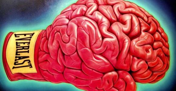 Boxing glove in the shape of a brain
