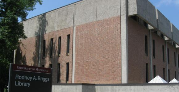 The entrance to Rodney A. Briggs Library on the University of Minnesota, Morris campus.