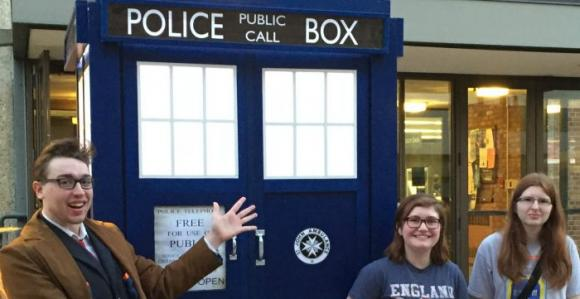 The Tardis in front of Briggs Library.