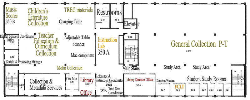 Map of Briggs Library third floor