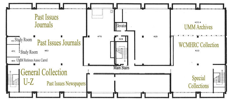 Fourth Floor Library Map