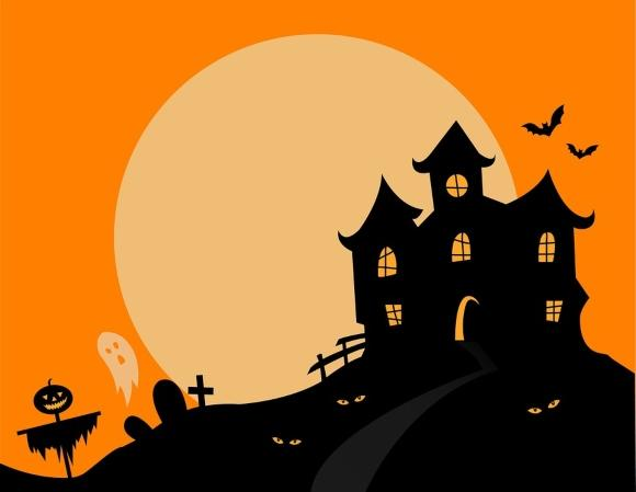 Haunted house with an orange background and a moon.