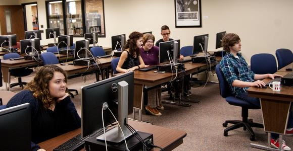 Students utilize the instruction lab for computer use.