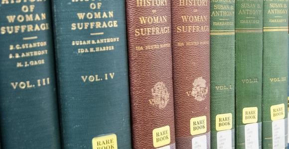 Our rare book collection is located on the fourth floor.