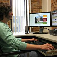Student working with Camtasia software.