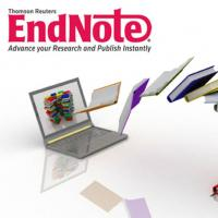 Endnote logo with computer and books