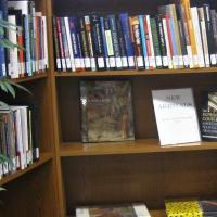 Collection of new books available for checkout.