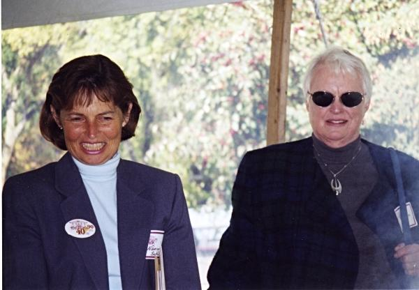 Nancy Schuman and Helen Briggs, Founders Day, 2000