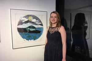 Senior Art Show Briggs Library Associates Art Award winner Emily Klarer.