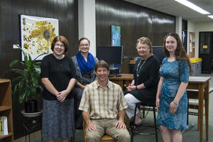 The 5 librarians at Briggs Library