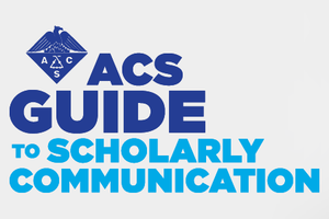 ACS Guide to Scholarly Communication text with a beaker.