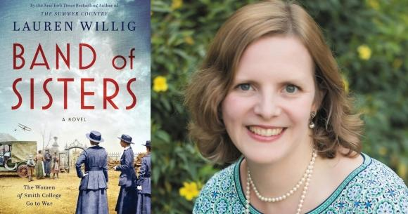 Author Lauren Willig and cover of Band of Sisters novel featuring three women standing as a airplane flies overhead