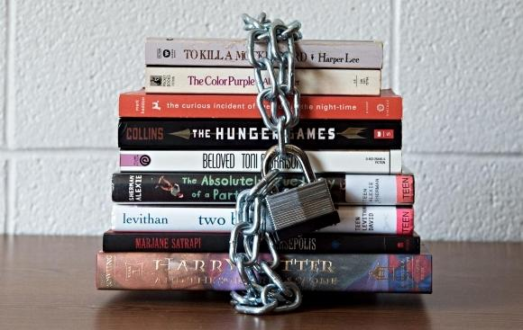 Books with a chain and lock