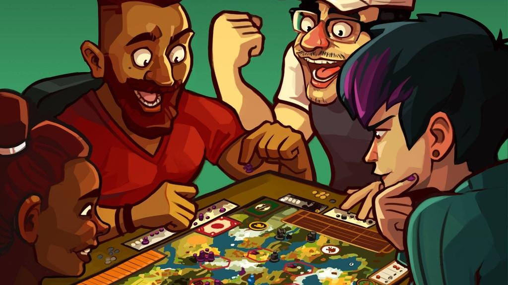 Adults of different races playing games. People are laughing.