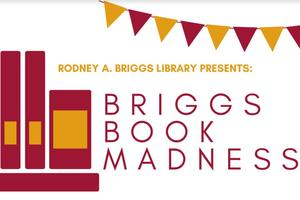 """Books and banner with text """"Briggs Book Madness"""""""