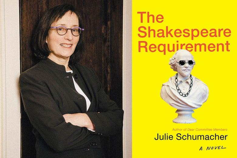 Cover of the book The Shakespeare Requirement and author photo of Julie Schumacher