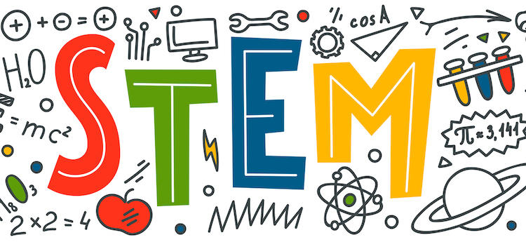 The word STEM in multi-colors with symbols of STEM fields surrounding it.