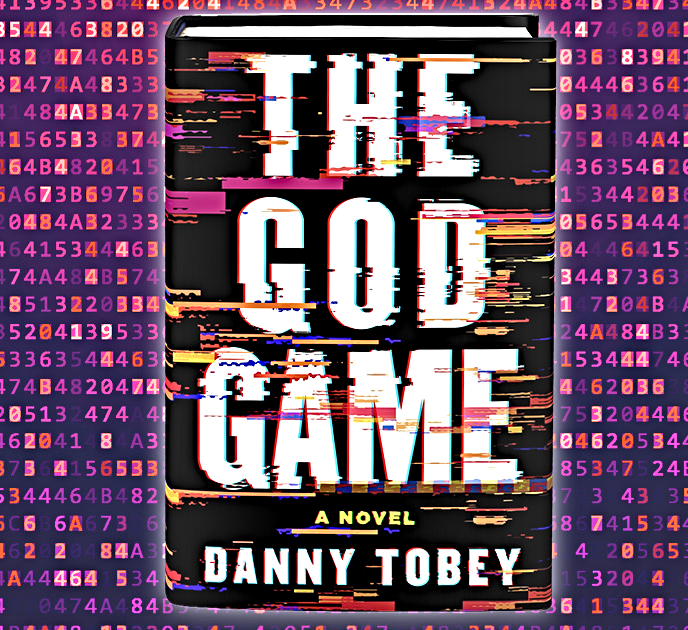 The cover of the novel The God Game featuring wavering letters and a numbered background.