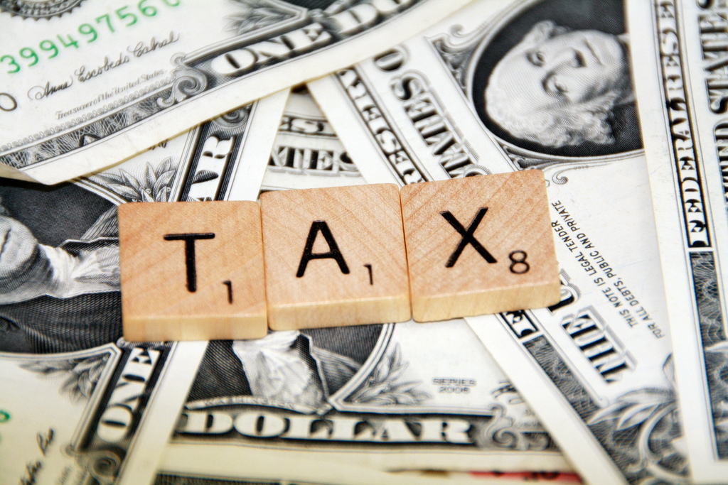 Taxes with scrabble letters
